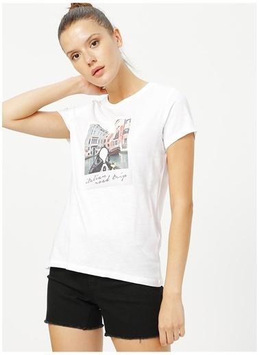 Only Only Beyaz Baskılı T-Shirt Beyaz